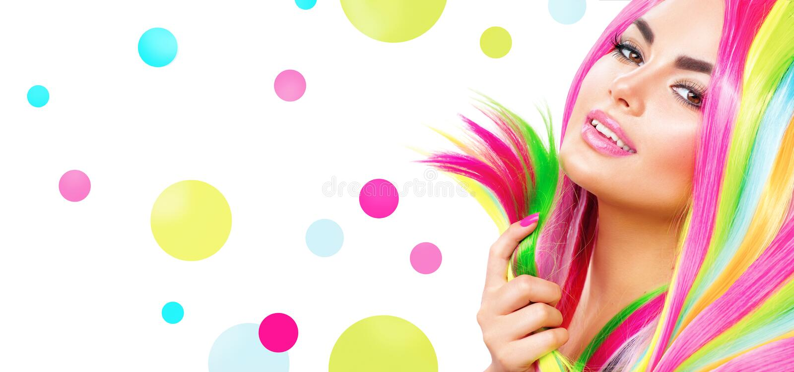 Beauty girl portrait with colorful makeup. Hair and nail polish stock photos