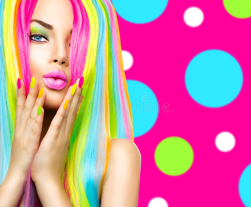 Beauty Girl Portrait With Colorful Nails, Hair And Makeup Stock ...