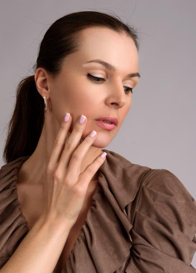 Beauty girl portrait. Woman nail manicure royalty free stock photo