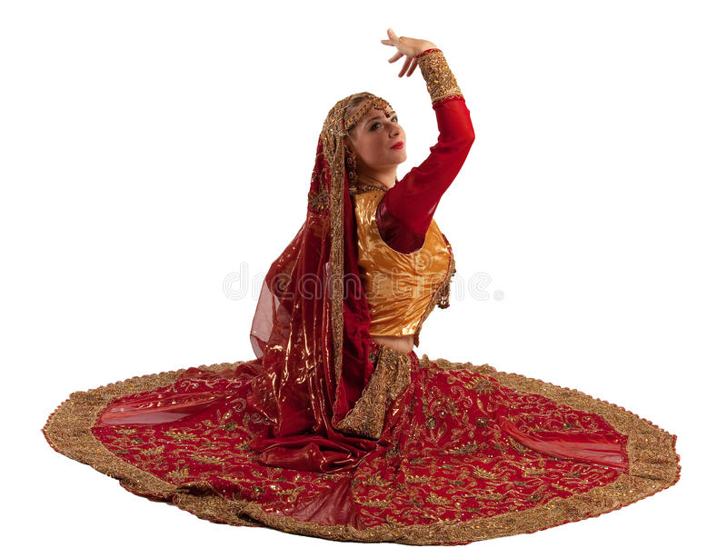 Beauty girl posing in indian costume royalty free stock photos