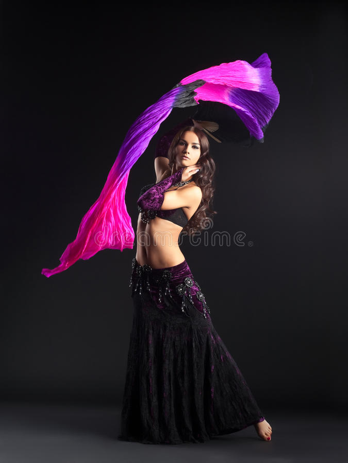 Beauty girl posing in traditional arabian costume stock image