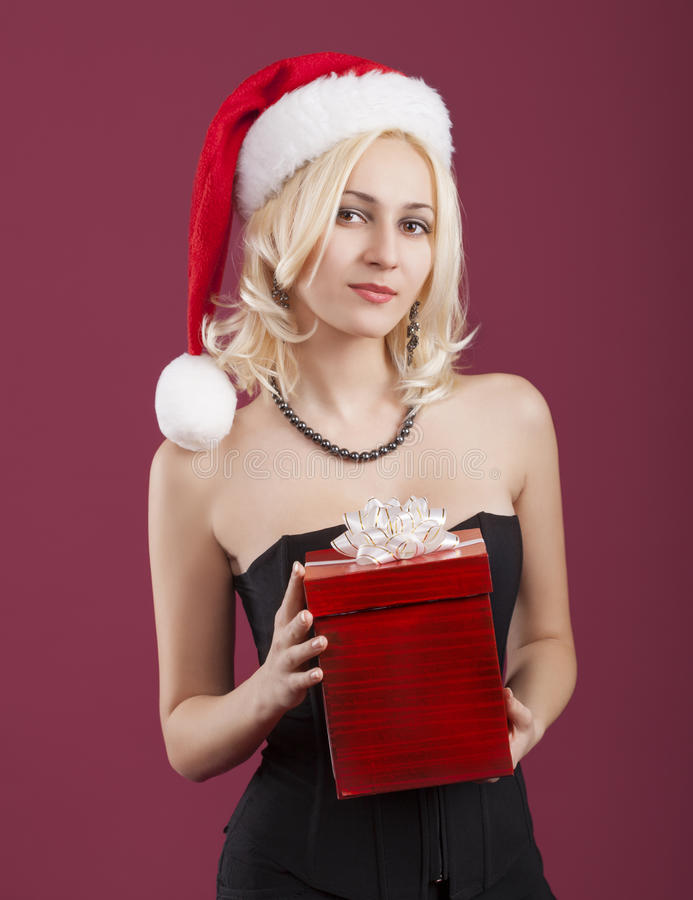 Beauty girl with red gift box royalty free stock image