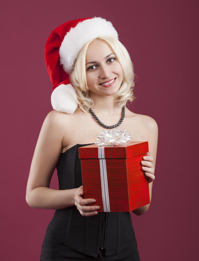 Beauty girl with red gift box stock image