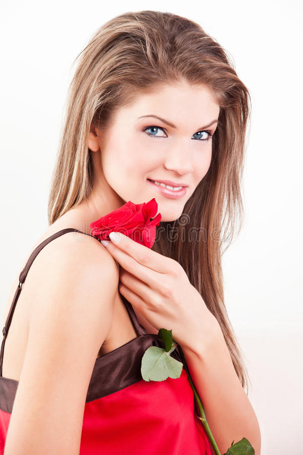 Beauty girl with red rose stock photos