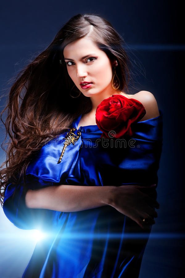 Download Beauty girl with rose stock image. Image of color, elegant - 27739841
