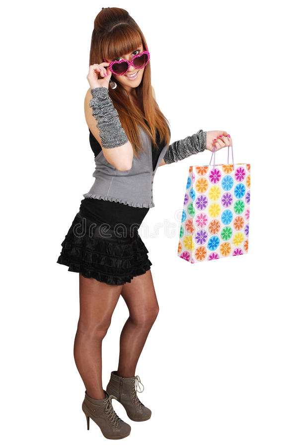 Beauty girl with shopping bag stock photo