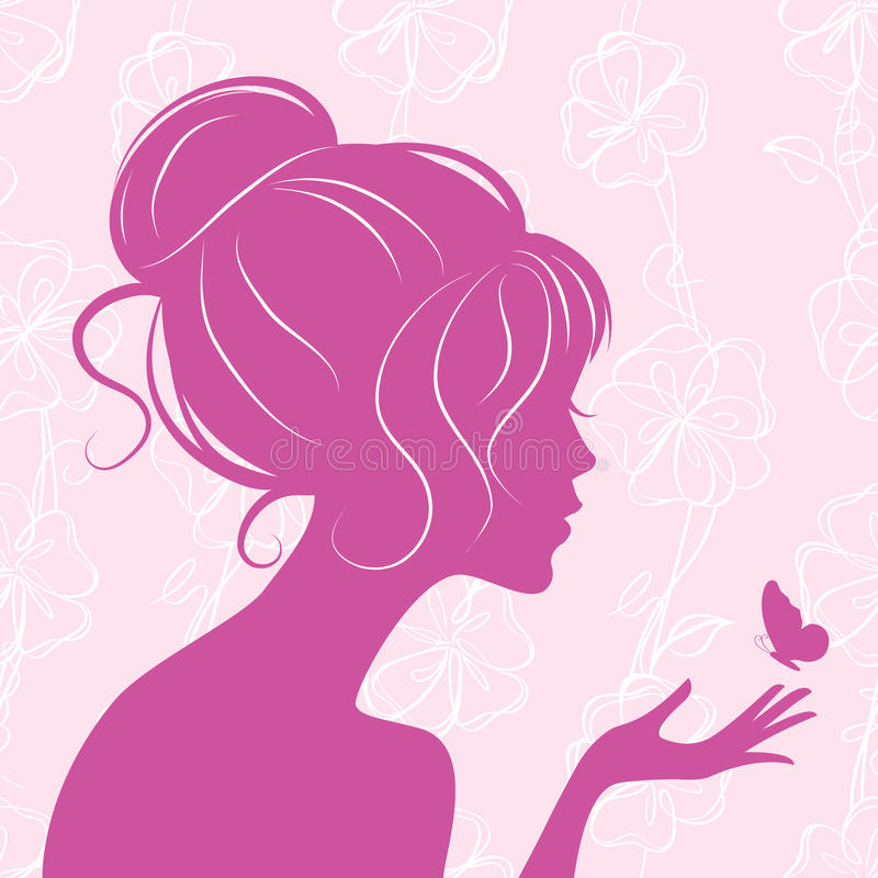 Download Beauty Girl Silhouette With Butterfly Stock Vector - Image: 19117803