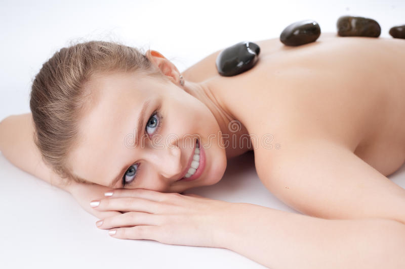 Beauty girl spa. On white background royalty free stock images