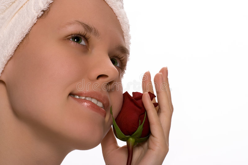 Download Beauty Girl In Towel With Rose After Shower Royalty Free Stock Images - Image: 1420859