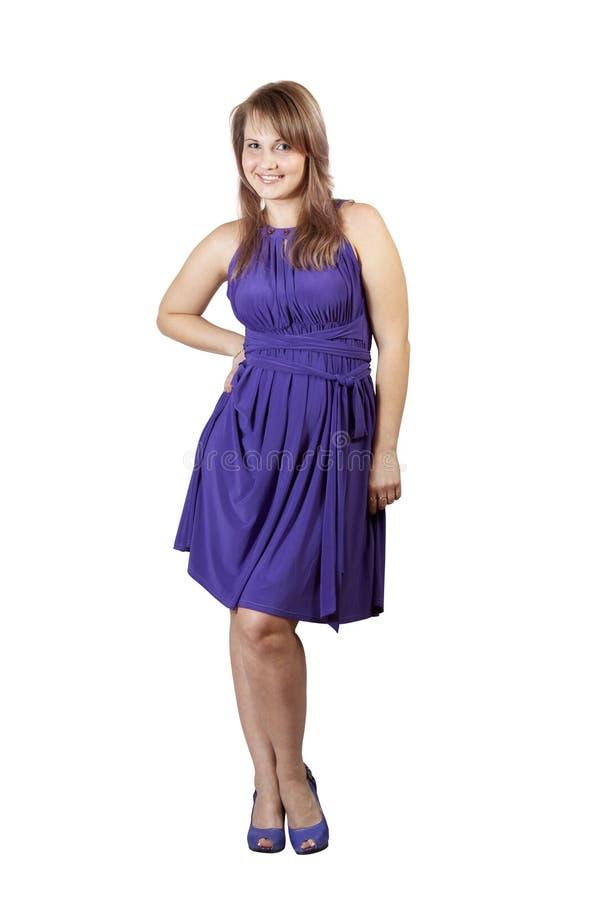 Beauty Girl In Violet Dress Stock Image
