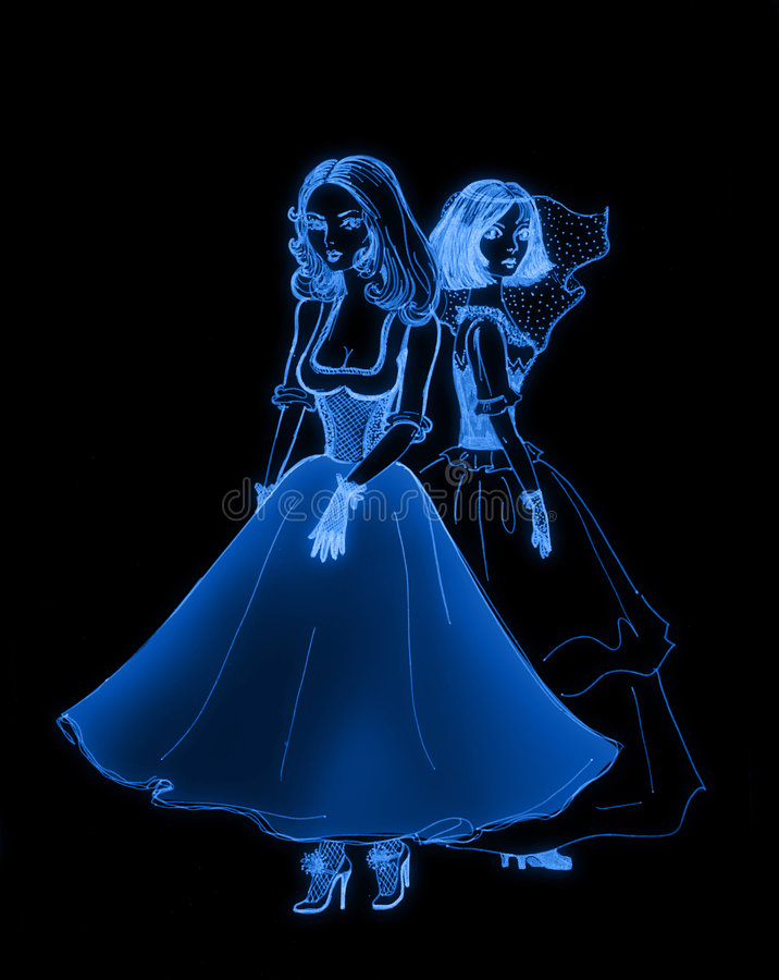 Beauty girls in dresses