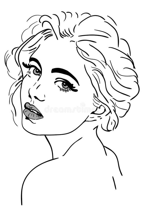 Beauty glamour face girl portrait royalty free illustration