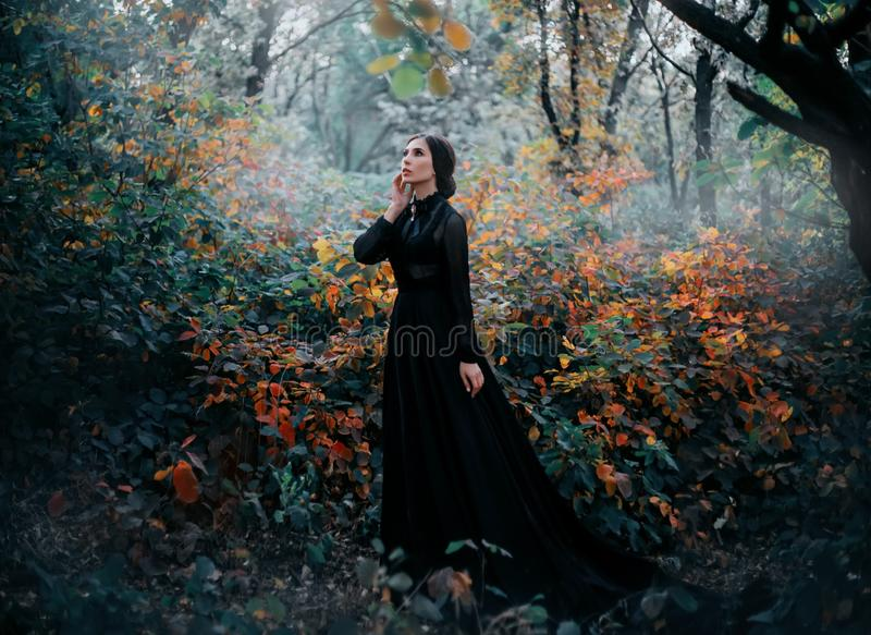 Beauty Gothic princess walks in autumn forest. Fantasy mystical dark backdrop. royalty free stock photos