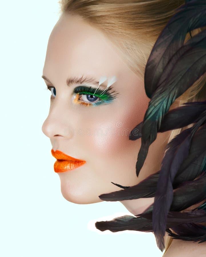Beauty With Green Eyelashes Royalty Free Stock Photos