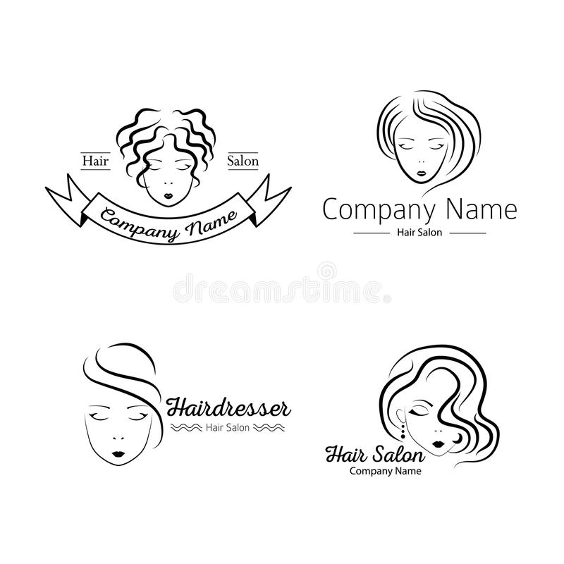 Beauty hair face woman silhouette. Beauty salon logo set with faces. Vector illustration of woman silhouette in minimalistic sketch style