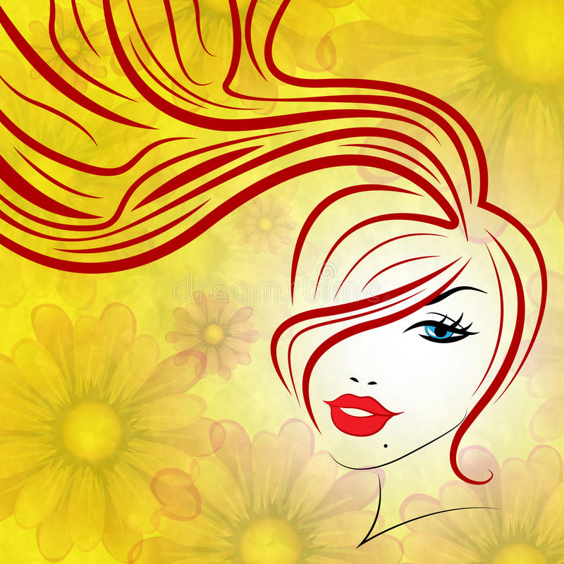 Beauty Hair Represents Good Looking And Attractive royalty free illustration