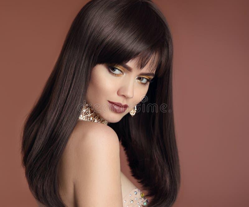 Beauty hair. Vogue Hairstyle. Glamour girl closeup. Fashion woman portrait. Sensual lips makeup. Elegant lady with diamond royalty free stock photos