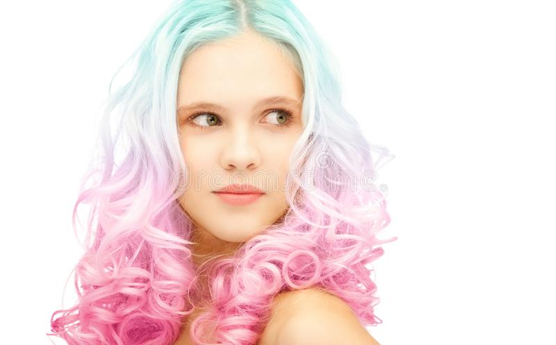 Teen girl with trendy colorful gradient dyed hair stock image