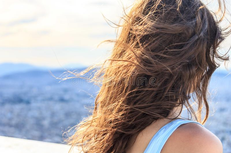 Girl with blowing hair royalty free stock images