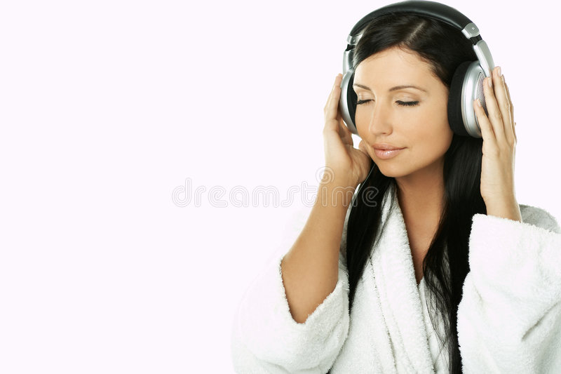 Beauty with headphones stock images