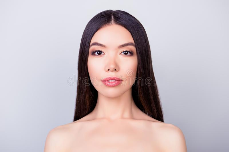 Beauty and health concept. Young pretty asian lady with healthy royalty free stock photography