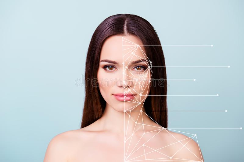 Beauty and health concept. Young pretty she her lady with healthy skin, hair, looking straight in the camera. So fresh royalty free stock photography