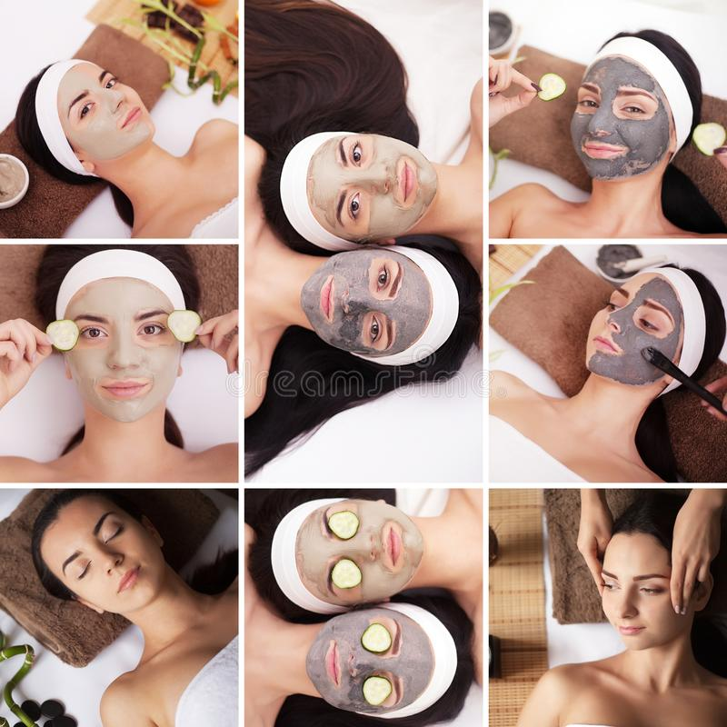 Beauty, healthy lifestyle and relaxation concept - collage of many pictures with beautiful young women having facial or body massa stock images