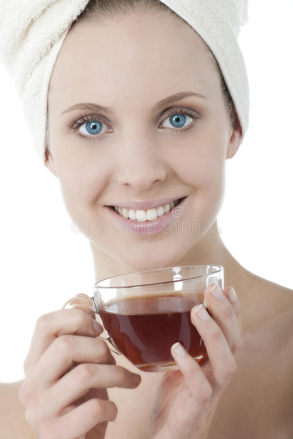 Beauty with herbal tea royalty free stock photography