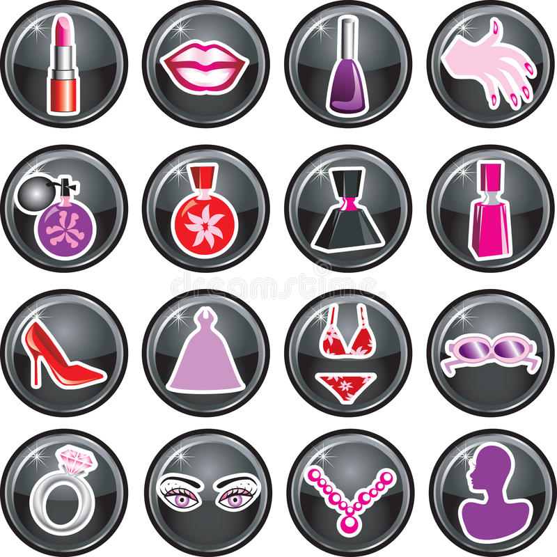 Download Beauty Icon Buttons stock vector. Image of hands, heels - 12339611