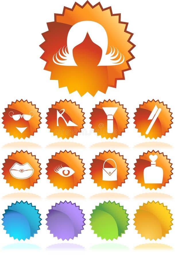Download Beauty Icon Set: Sticker Button Series - Wig Stock Vector - Illustration of internet, eyelash: 9292666