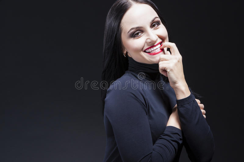 Beauty Ideas. Natural Portrait of Smiling Sensual Caucasian Brunette royalty free stock image