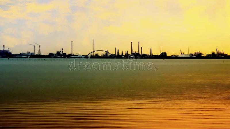 Beauty in industry: simple industrial scape from the sea stock illustration