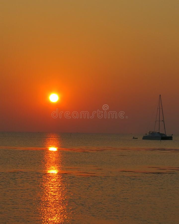 Sunset at karimunjawa island royalty free stock photography