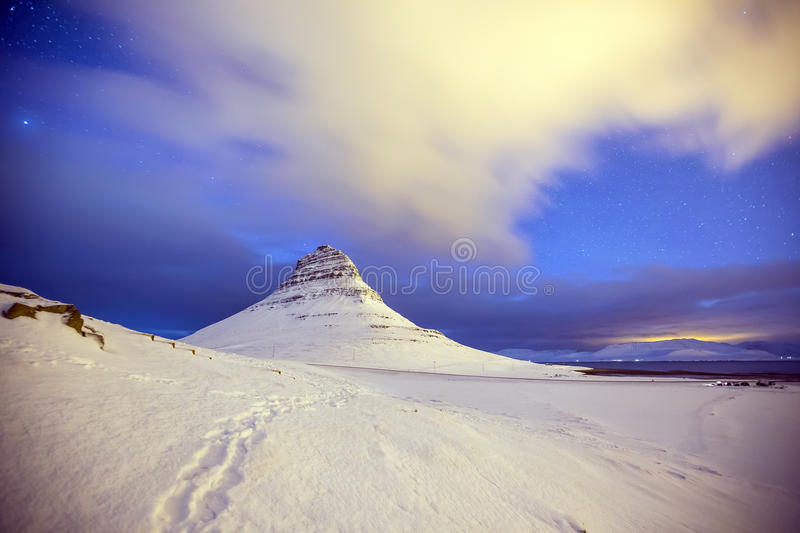Beauty of Kirkjufell mountain with water falls. Iceland royalty free stock images