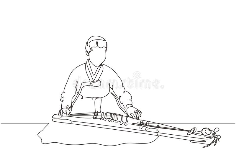 Beauty korean girl with handbook playing gayageum traditional music instrument vector illustration continuous one line drawing. Minimalism design, adult vector illustration