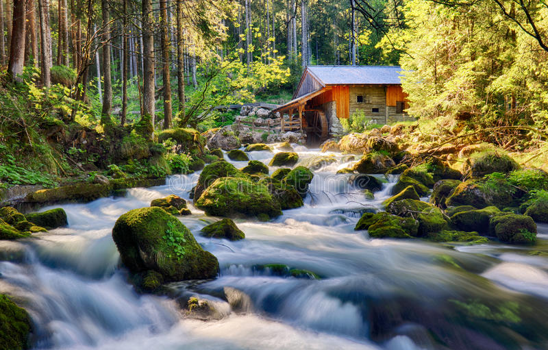 Beauty landscape with river and forest in Austria, Golling.  stock images