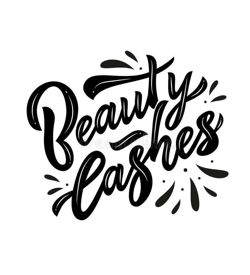 Beauty lashes hand calligraphy lettering. Vector royalty free illustration