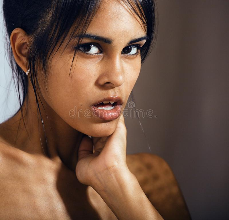 beauty latin young woman in depression, hopelessness look, fashi stock photo