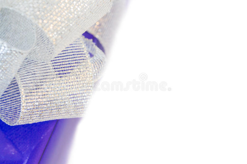 Beauty lilac gift with silver bow stock photos