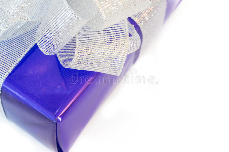 Beauty lilac gift with the silver bow royalty free stock images