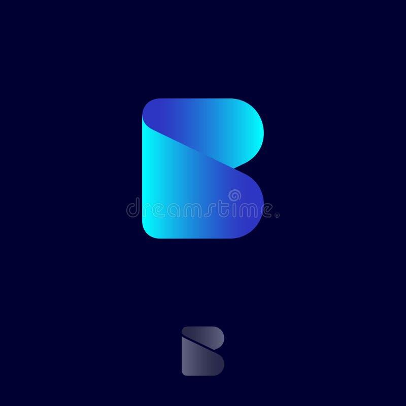 Beauty logo. B monogram logo. Origami logo. Blue ribbon letter on a dark background. stock illustration