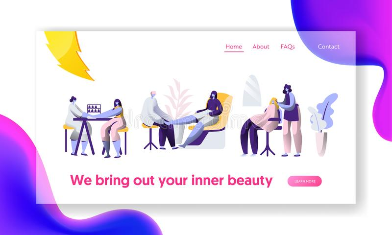 Beauty Luxury Hairstyle Salon. Stylist Clean Fingernail, Hairdressing Procedure. Client Service Landing Page. Fashionable Woman royalty free illustration