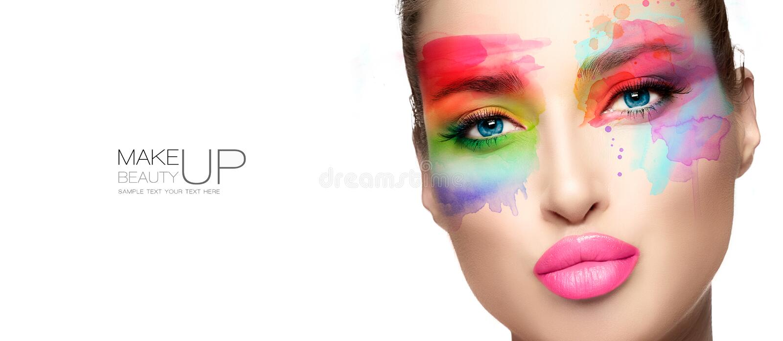 Beauty make up. High fashion model with creative colorful makeup royalty free stock images