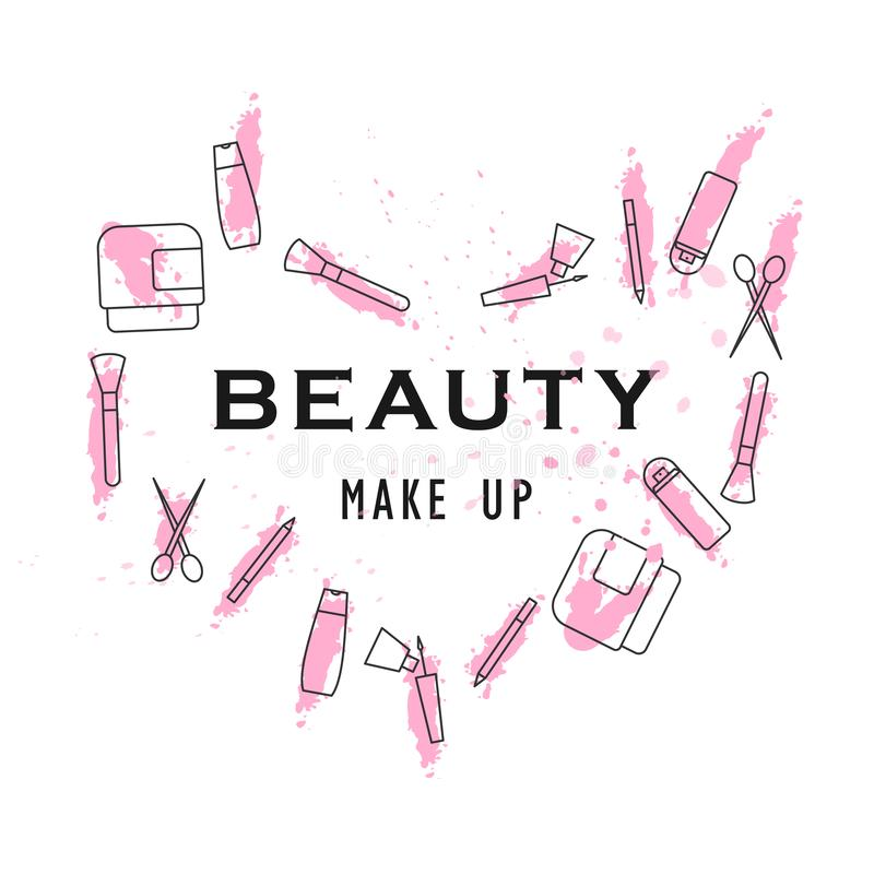 beauty make up poster icons and color heart royalty free illustration