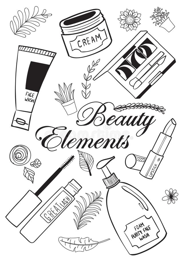 Beauty and makeup elements vector illustration