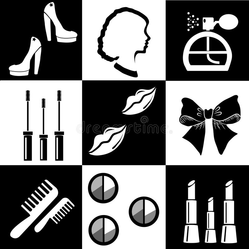 Beauty and makeup flat icons. Black and white beauty and makeup flat icons royalty free illustration