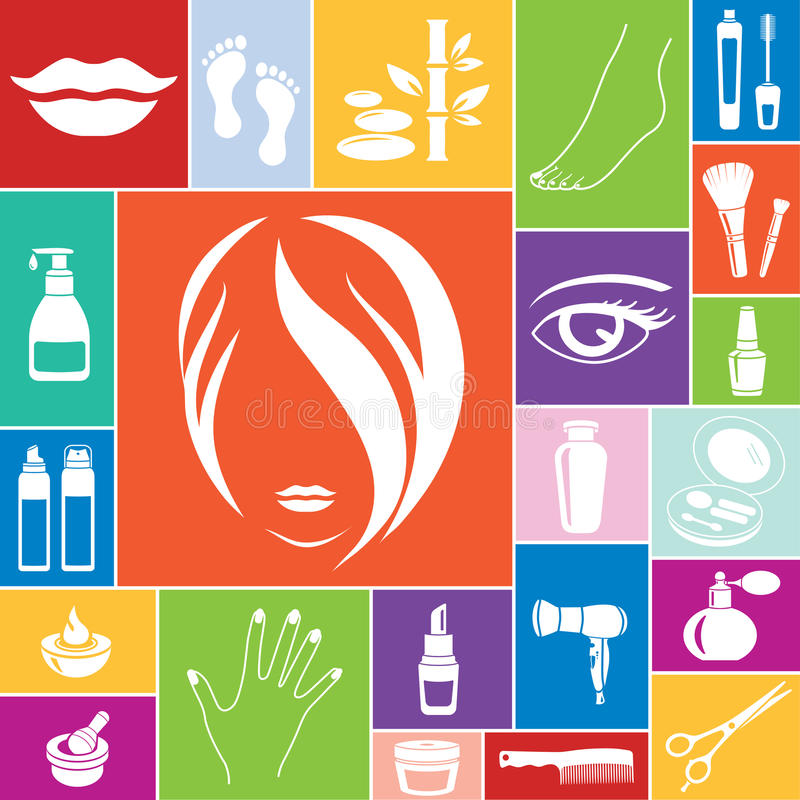 Beauty and makeup icons, vector set vector illustration