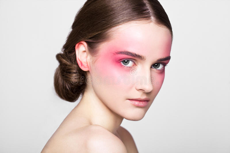 Beauty makeup pink eyes and lips fashion model royalty free stock images