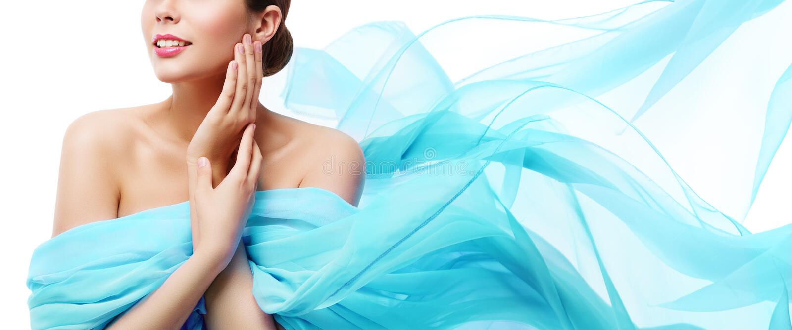 Beauty Makeup Skin Care, Woman Touching Face by Hand, Young Girl in Blue Waving Cloth. Over White background royalty free stock photos