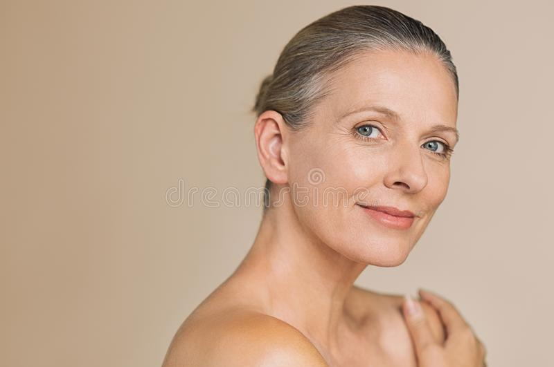Beauty mature woman smiling royalty free stock photo